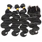 閉鎖が付いている毛横糸 ブラジリアンヘア ウェーブ ヘア織り