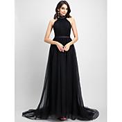 Corte en A Halter Capilla Tul Evento Formal Vestido con Recogido por TS Couture®