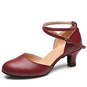Mujer Zapatos de Baile Moderno Cuero Tacones Alto Hebilla Tacón Cuadrado Personalizables Zapatos de baile Negro / Rojo / Interior