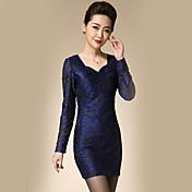 女性 シンプル カジュアル/普段着 / プラスサイズ シース ドレス,ジャカード Vネック 膝上 長袖 ブルー ポリエステル 春 ミッドライズ マイクロエラスティック