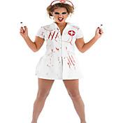Sygeplejeske Cosplay Kostumer Festkostume Kvindelig Halloween Festival/Højtider Halloween Kostumer Ensfarvet Trykt mønster