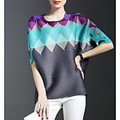 女性 フォーマル 春 Tシャツ,モダンシティ ラウンドネック カラーブロック マルチカラー レーヨン ハーフスリーブ 薄手