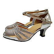 Mujer Moderno Salón Lentejuelas Satén Cuero Patentado Sintético Tacones Alto Sandalia Zapatilla Entrenamiento Principiante Profesional