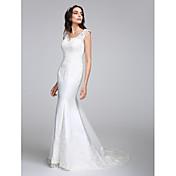 Trompeta / Sirena Cuello en V Corte Satén Vestido de novia con Apliques Botón por LAN TING BRIDE®