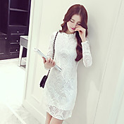 Mujer Corte Bodycon Vestido Noche Simple,Un Color Escote Chino Hasta la Rodilla Manga Larga Blanco Poliéster Primavera / Otoño Tiro Medio