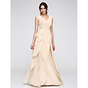 Funda / Columna Cuello en V Hasta el Suelo Raso Baile de Promoción Evento Formal Vestido con Fruncido por TS Couture®