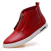 Hombre Zapatos Microfibra Primavera Otoño Confort Bailarinas Cremallera Para Casual Blanco Negro Rojo
