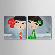 手描きの 抽象画 人物 ファンタジー 抽象的な肖像画 方形, 近代の 伝統風 リアリズム 地中海風 キャンバス ハング塗装油絵 ホームデコレーション 2枚
