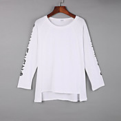 Mujer Simple Casual/Diario Otoño Camiseta,Escote Redondo Un Color Manga Larga Algodón Blanco / Negro / Naranja Medio