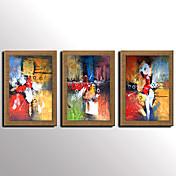 Pintada a mano Abstracto / Famoso / Paisaje / Naturaleza muerta / Fantasía Pinturas de óleo,Modern / Mediterráneo / Estilo europeoTres