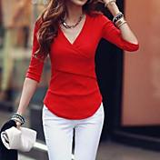 De las mujeres Simple / Chic de Calle Casual/Diario Otoño Camiseta,Escote en Pico Un Color Manga Larga Otro Rojo / Blanco / Negro Grueso
