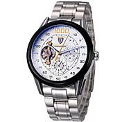 Tevise Hombre Reloj de Pulsera El reloj mecánico Cuerda Automática Cronógrafo Resistente al Agua Acero Inoxidable Banda Cool Plata
