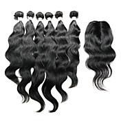 閉鎖が付いている毛横糸 インディアンヘア ナチュラルウェーブ 12ヶ月 7個 ヘア織り