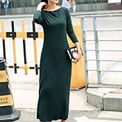Mujer Recto Vestido A Rayas Maxi Escote Barco
