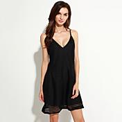 女性用 シース ドレス - バックレス, ソリッド ストラップ