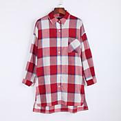 女性 カジュアル/普段着 秋 シャツ,ストリートファッション シャツカラー チェック ブルー / レッド コットン 長袖 ミディアム