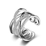 Mulheres Anéis Grossos Anéis para Falanges Cristal Imitação de Diamante Original Amor Moda Crossover bijuterias Prata de Lei Imitações de