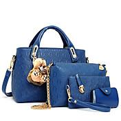 Mujer Bolsos PU Conjuntos de Bolsa Set de 4 piezas de monedero para Casual Azul