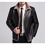 Hombre Abrigo Cuello Camisero - Un Color Básico