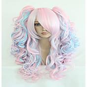 Mujer Pelucas sintéticas Sin Tapa Largo Ondulado Rosa Pelo reflectante/balayage Corte a capas Con coleta Con flequillo Peluca de cosplay