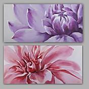 Pintada a mano Abstracto / Floral/Botánico Pinturas de óleo,Modern / Realismo Dos Paneles Lienzos Pintura al óleo pintada a colgar For
