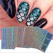 24 Engomada del arte del clavo Diecut manicura de la plantilla maquillaje cosmético Nail Art