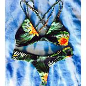 De las mujeres Bikini-Floral / GeométricoHalter-Poliéster