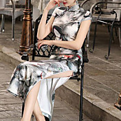 Mujer Túnica Vestido Noche / Formal Vintage / Tejido Oriental,Floral Escote Chino Maxi Manga Corta Gris Algodón Otoño / Invierno Tiro Alto