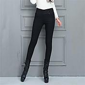Mujer Sensual Tiro Alto Microelástico Ajustado Chinos Pantalones, Un Color Poliéster Invierno Otoño