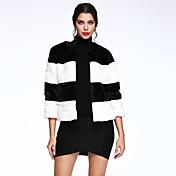 女性 カジュアル/普段着 ストライプ ファーコート,シンプル ブラック フェイクファー 七部袖 厚手