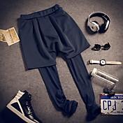 Masculino Simples Activo Cintura Baixa Micro-Elástica Activo Chinos Calças Esportivas Calças,Skinny Sólido