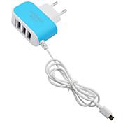 急速充電 / マルチポート ホーム充電器 / ポータブル充電器 EUプラグ 3 USBポート ケーブル付き 携帯電話の場合(5V , 3.1A)