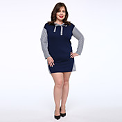Mujer Tallas Grandes Camiseta Vestido - Lazo, Un Color Sobre la rodilla