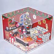 regalo romántica manual de música cubierta de polvo modelo diy casa de muñecas de madera incluyendo todas las luces de muebles lámpara led