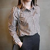 Mujer Clásico Para trabajo Ropa Cotidiana Otoño Camisa,Cuello Camisero Rayas Manga Larga N/A Medio