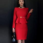 女性 シンプル カジュアル/普段着 ボディコン ドレス,ソリッド ラウンドネック 膝上 長袖 レッド ポリエステル 秋 ミッドライズ 伸縮性なし ミディアム