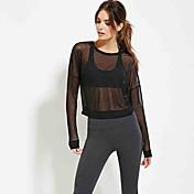 2016年秋の女性の新しいセクシーな視点ガーゼ短いパラグラフのファッション野生の長袖Tシャツ