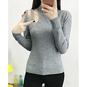 Mujer Regular Pullover Noche Casual/Diario Simple,Un Color Negro Gris Naranja Cuello Barco Manga Larga Rayón Otoño Invierno Medio Elástico