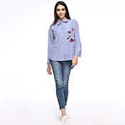 女性 プラスサイズ / カジュアル/普段着 秋 シャツ,シンプル シャツカラー 刺しゅう ブルー コットン 長袖