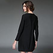 aofuli las mujeres visten el vestido del tamaño suelta más elegante de la vendimia 2016 europa bordado remiendo de la raya del plisado