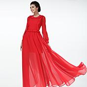 人形の服は新しい春と夏の赤いドレス襞飾りは、薄い長袖のドレスの休日のドレスでした