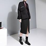 謝ジンデザインの新しい冬のファスナーポケット短い段落のウールコート