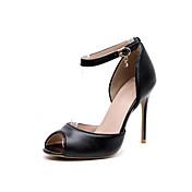 Mujer Zapatos Cuero Primavera / Otoño Tira en el Tobillo Tacones Tacón Stiletto Punta abierta Cristal / Hebilla Negro / Fiesta y Noche