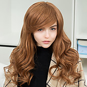 ファッション快適な斜め前髪長いウェーブのかかった人間の髪の毛のキャップレスかつら