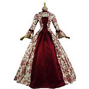 Vintage Victoriano Rococó Disfraz Mujer Ropa de Fiesta Baile de Máscaras Rojo Cosecha Cosplay Tela de Encaje Algodón Manga Larga Poeta