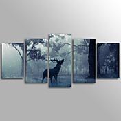 Animal Modern,Cinco Paneles Lienzos Horizontal Estampado Decoración de pared For Decoración hogareña