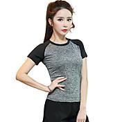 女性用 ランニングTシャツ 半袖 速乾性 高通気性 Tシャツ トップス のために ヨガ エクササイズ&フィットネス ランニング モーダル ポリエステル スリム オレンジ パープル フクシャ ダークグレー フルーツグリーン S M L XL