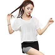 女性用 ランニングTシャツ 半袖 速乾性 高通気性 トップス のために ヨガ エクササイズ&フィットネス ランニング モーダル ポリエステル メッシュ スリム ホワイト ブラック S M L XL