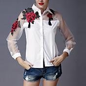 女性 お出かけ 春 夏 シャツ,モダンシティ シャツカラー 刺しゅう ホワイト ブラック ポリエステル 長袖 薄手