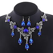 Mujer Juego de Joyas Circonita Lujo Europeo Joyería Destacada Moda Diario Piedras preciosas sintéticas Legierung Gota 1 Collar 1 Par de